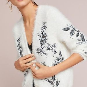 Anthropologie Embroidered Cozy Cardigan Sweater MP